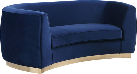 Meridian Furniture 620Navy-L Julian Navy Velvet Loveseat 647899950292