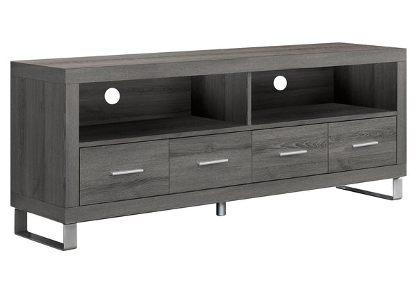 "Monarch Specialties I 2517 Tv Stand - 60""L / Dark Taupe With 4 Drawers 878218000705"