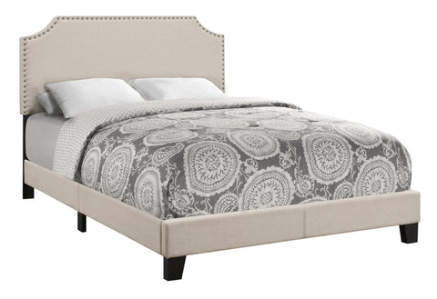 Monarch Specialties I 5926F Bed - Full Size / Beige Linen With Antique Brass Trim 680796001414