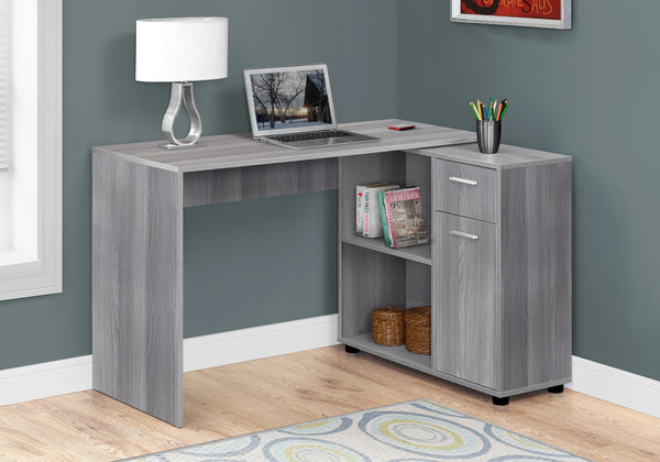 "Computer Desk - 46""L / Grey With A Storage Cabinet"