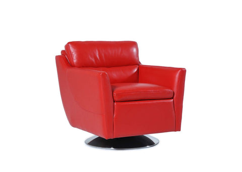Clio Full Top Grain Leather Contemporary Chair Crimson Red Accent