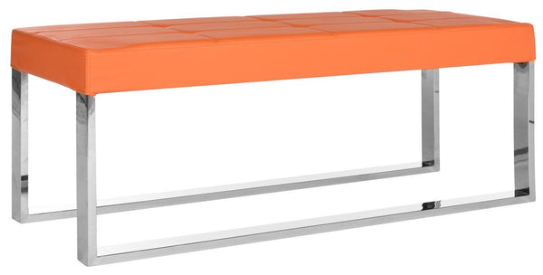 Marc Bench Orange Leather And Polished Stainless Steel