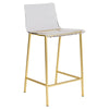 Chloe Counter Stool in Clear Acrylic with Matte Brushed Gold Legs - Set of 2