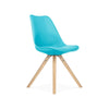 Viborg Mid Century Blue Side Chair with Natural Wood Base (Set of 2)