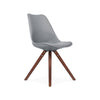 Viborg Mid Century Grey Side Chair with Walnut Wood Base (Set of 2)