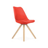Viborg Mid Century Red Side Chair with Natural Wood Base (Set of 2)