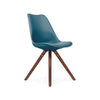 Viborg Deep Teal Mid Century Side Chair Walnut Base (Set of 2)