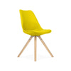 Viborg Mid Century Yellow Side Chair with Natural Wood Base (Set of 2)