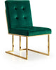 Pierre Green Velvet Dining Chair With Gold Base (set of 2)
