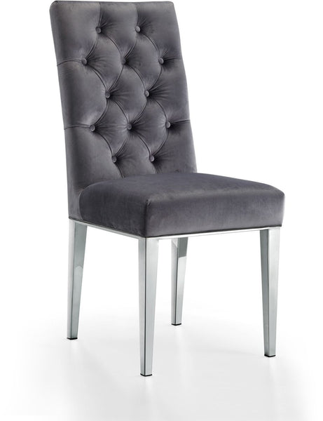 Juno Deep Tufted Grey Velvet Dining Chair (Set Of 2)