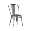 Dreux Gunmetal Elm Wood Steel Stackable Side Chair (Set of 2)