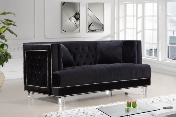 Lucas Black Velvet Loveseat