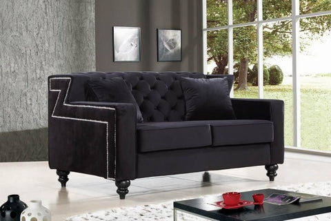 Harley Black Velvet Loveseat