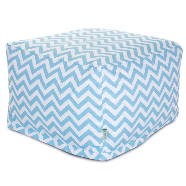 Tiffany Blue Chevron Large Ottoman