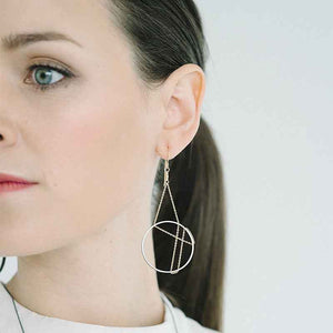 Vitruvia Earrings in Oxidized Silver and Gold