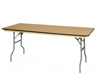 "6' x 30"" Wooden Banquet Table"