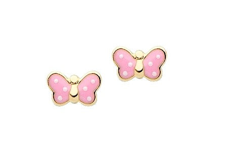 Baby and Children's Earrings:  14K Gold Pink, Dotty Butterfly Earrings with Screw Backs and Gift Box