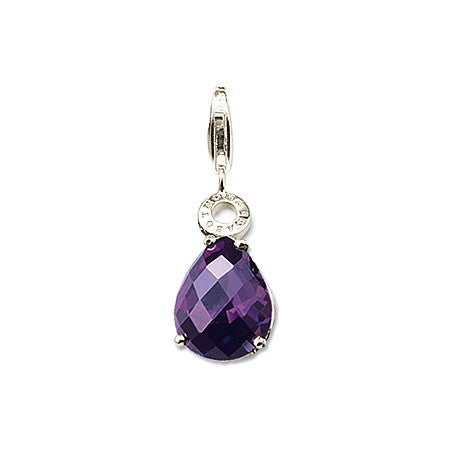 Mothers' and Children's Charms:  Silver Plated, Amethyst CZ Charms