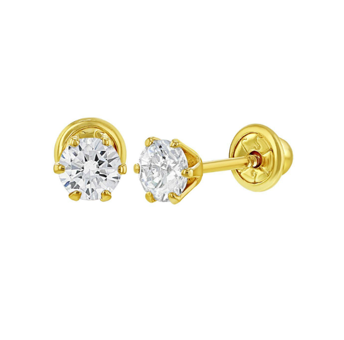 Baby Earrings - 14k Gold Solitaire Clear CZ -4mm with Screw Backs in Gift Box
