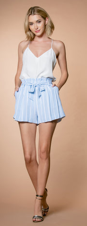 Light Blue Striped Paperbag Shorts by Lavender Brown 001