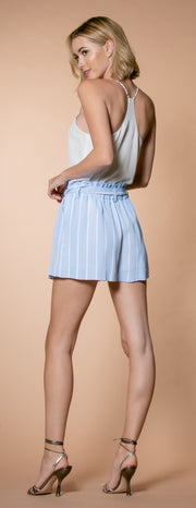 Light Blue Striped Paperbag Shorts by Lavender Brown 002