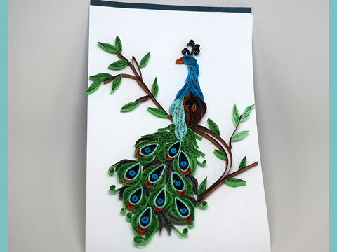 Paper filligree handmade peacock decorated card