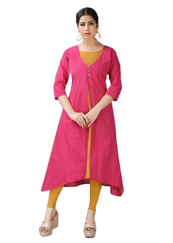 Cerise Pink and Geebung Orange handloom kurti