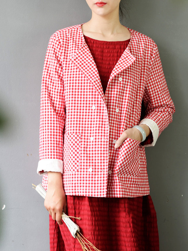 Plaid Long Sleeve Double Breasted Blouse