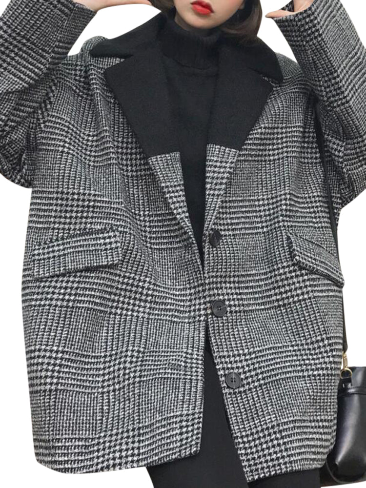 Loose Women Long Sleeve Button Patchwork Houndstooth Tweed Wool Blazer