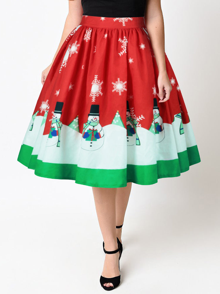 Christmas Casual Snowman Print High Waist Pleated skirts
