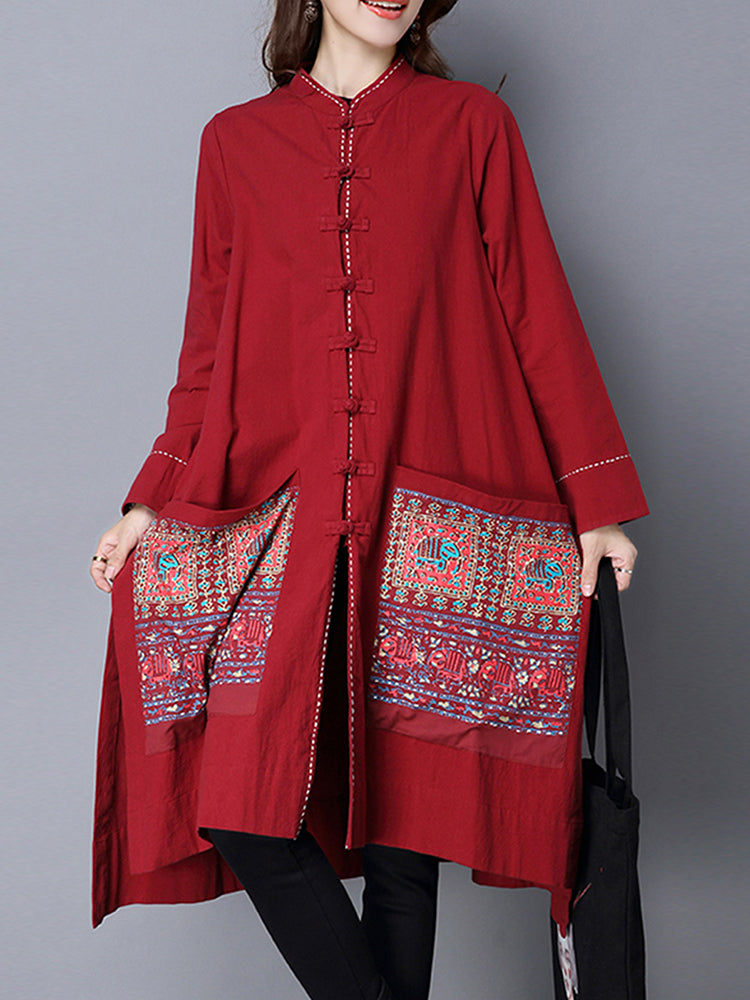 Vintage Women Chinese Style Loose Printed Cardigans