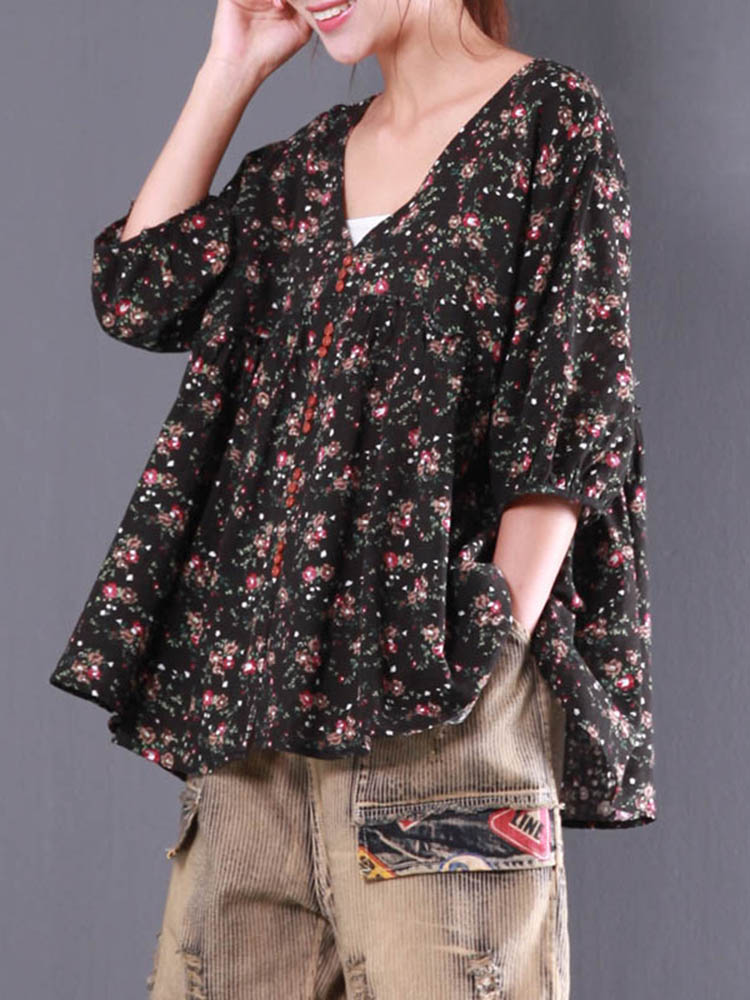 Casual Women Floral Printed V-Neck Blouse