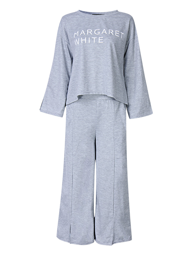 Casual Letters Print Sweatshirt Suit Wide Leg Pants Loose Women Sets