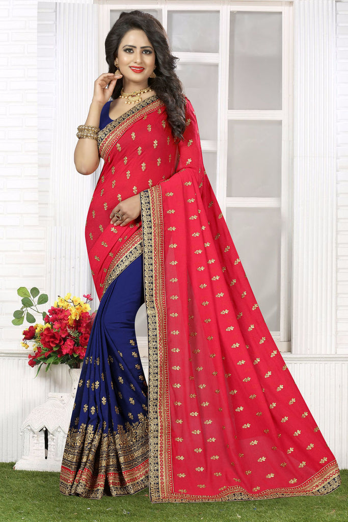 Crepe Embroidery Saree With Blouse