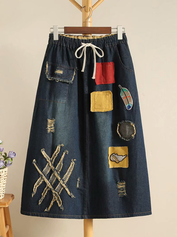 Embroidery Patchwork Drawstring Waist Denim Skirts For Women