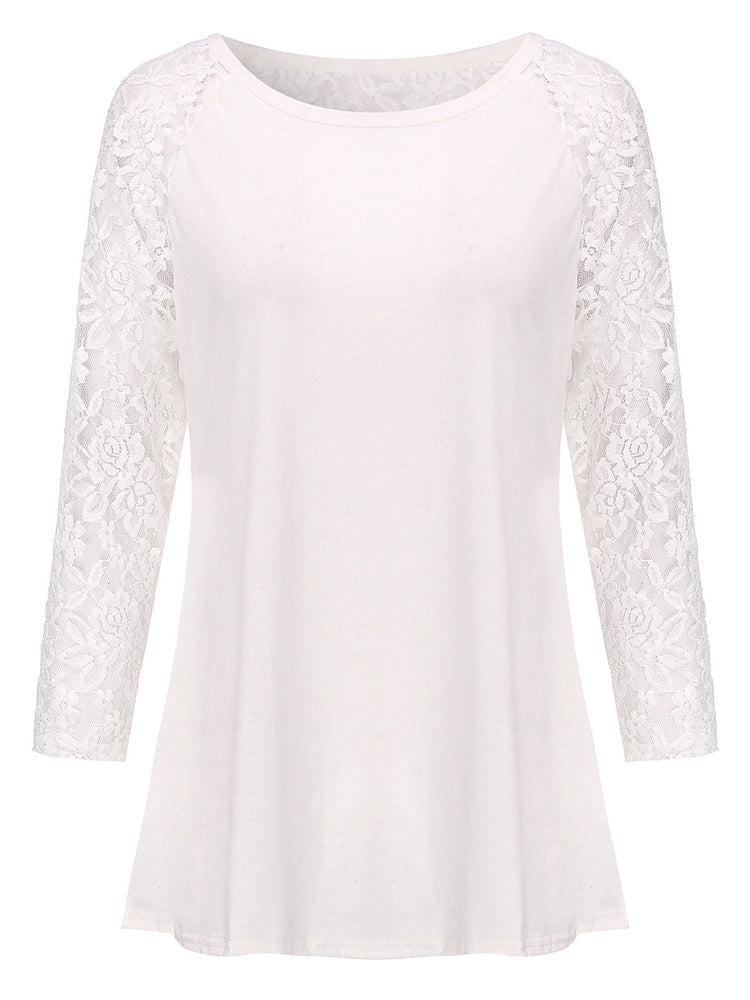 Sexy Lace Patchwork Hollow Out Long Sleeve Women Bottom T-Shirt