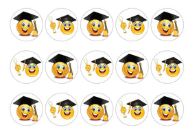 15 printed cupcake toppers with emoji images for graduation