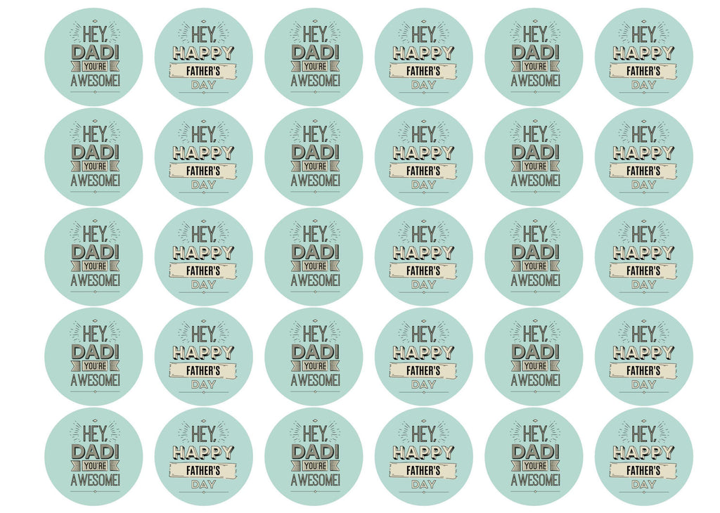 30 edible cupcake toppers with images for Father's Day