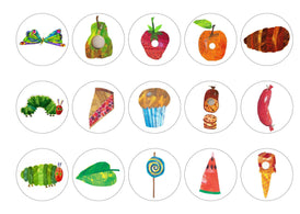 Printed cupcake toppers featuring the Hungry Catapillar