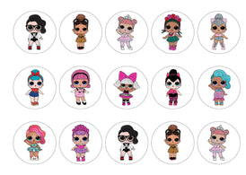 Printed edible cupcake toppers with LOL dolls