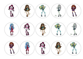 Printed edible cupcake toppers and cake toppers with the Monster High Characters
