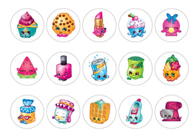 Printed edible cupcake toppers with Shopkins images