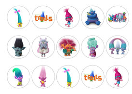 Printed edible cupcake toppers with Trolls images