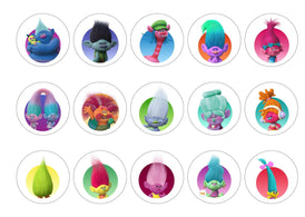 Printed edible cupcake toppers with images from Trolls 2