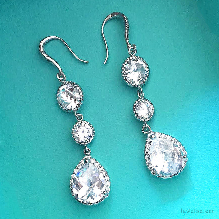 cubic zirconia wedding earrings - Jewelsalem