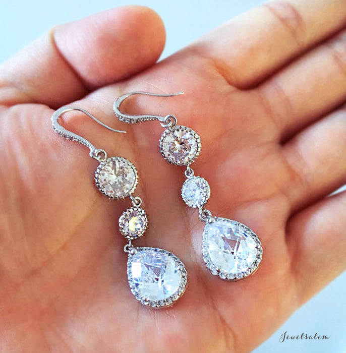 Crystal wedding earrings, long dangling CZ earrings, Alistair Earrings - Jewelsalem - 3