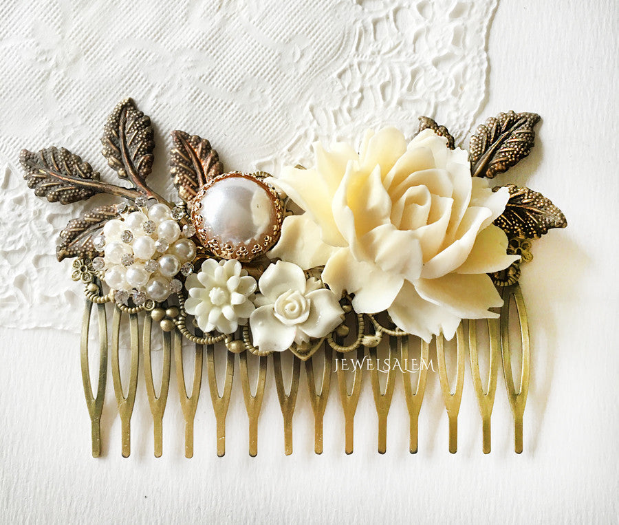 Ivory Bridal Hair Comb Neutral Wedding Theme Ecru Egg Shell Floral Hair Slide for Bride Rose Hair Clip Bridesmaids Gift - Jewelsalem