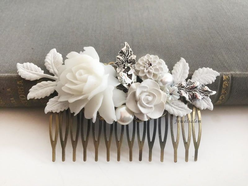 Romantic Silver Wedding Hair Comb with Leaves, Pearl, Flowers, Rhinestones and Pearl - Jewelsalem