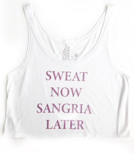 """Sweat Now Sangria Later"" White & Fuchsia Shimmer Flowy Crop"