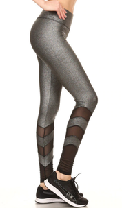 Signature Silver Sparkle & Black Mesh Leggings